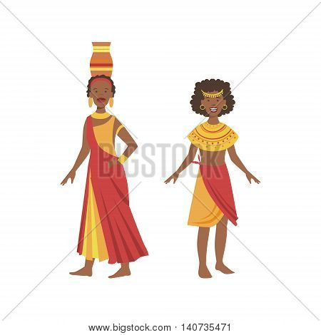 Two Women In Yellow And Red Dresses From African Native Tribe Simplified Cartoon Style Flat Vector Illustration Isolated On White Background