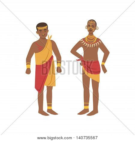 TwoMen In Loincloth From African Native Tribe Simplified Cartoon Style Flat Vector Illustration Isolated On White Background