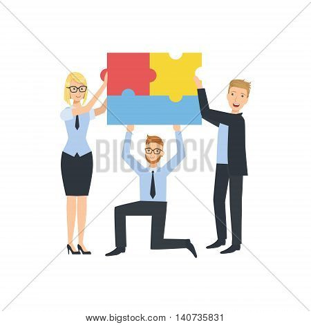 Managers Holding Connected Pieces Of Puzzle Teamwork Simple Cartoon Style Illustration. Office Employees Working Together Cute Flat Vector Drawing.