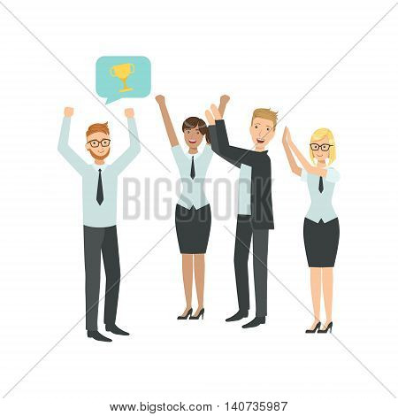 Manager Sharing Good News With Cheering Colleagues Teamwork Simple Cartoon Style Illustration. Office Employees Working Together Cute Flat Vector Drawing.