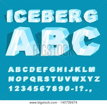 Iceberg Font. Ice Alphabet. Set Of Letters From Cold Ice. Frosty Abc. Blue Transparent Letters