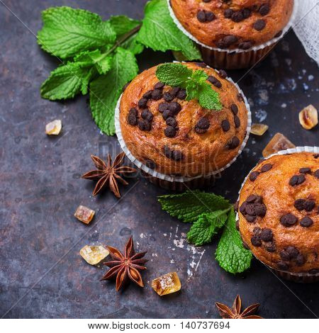Food and drink, seasonal concept. Homemade chocolate chip muffins with green mint for breakfast on a grunge rusty pan. Selective focus