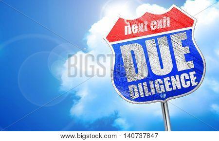 due diligence, 3D rendering, blue street sign