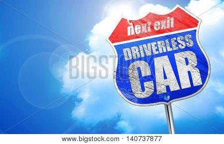 driverless car, 3D rendering, blue street sign