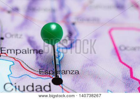 Esperanza pinned on a map of Mexico