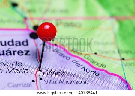 Lucero pinned on a map of Mexico