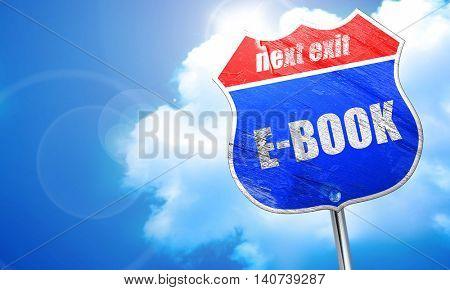 e-book, 3D rendering, blue street sign
