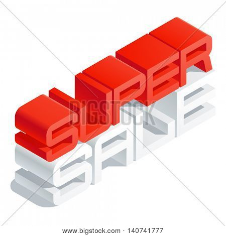 Vector promotion banner with 3D volume letters. Slim three dimensional isometric text Super sale