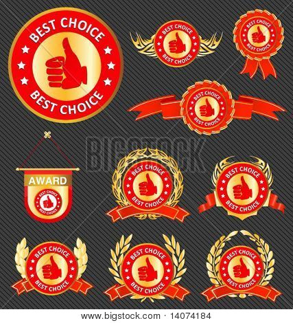 set of best choice signs