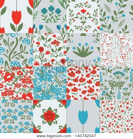 Seamless patterns with decorative ornament red and blue