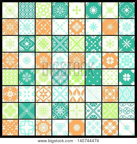 Seamless abstract patterns decorative set various designs