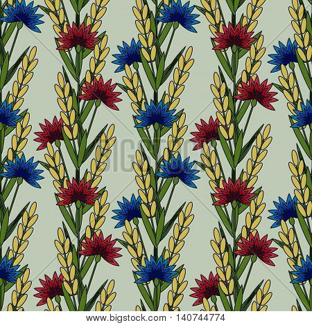 Seamless pattern with decorative cornflowers and wheat