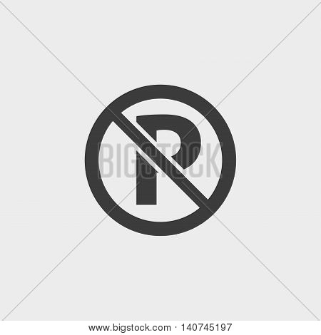 No parking icon in a flat design in black color. Vector illustration eps10