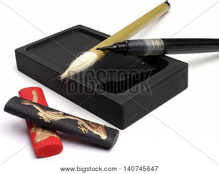 calligraphic brush on white background - Traditional Japanese art tools