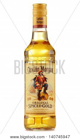 POZNAN POLAND - JULY 28 2016: Originated on US Virgin Islands Captain Morgan is a brand of rum produced by Diageo British multinational alcoholic beverages company headquartered in London