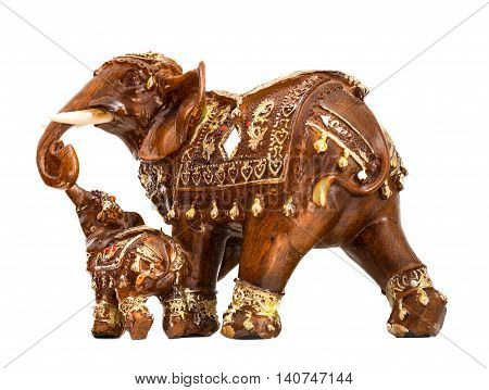 Carved Thai elephant made from wood on white background Family Thai elephat isolate.