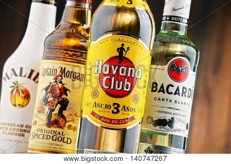 POZNAN POLAND - JULY 27 2016: The Most famous global rum brands come from Caribbean and this is where the beverage originated as a drink made from fermented and distilled sugarcane byproducts