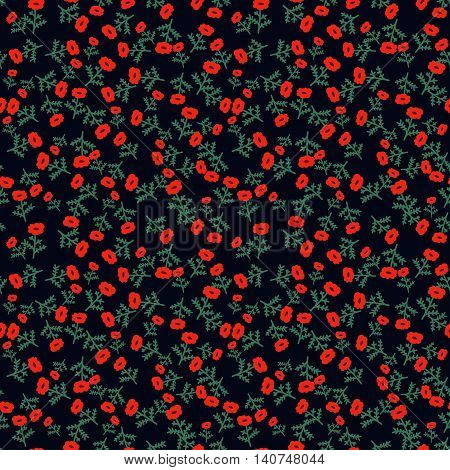 Seamless pattern with decorative red tiny flowers