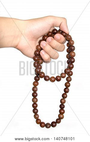 Holding Buddhist Prayer Beads Isolate On White Background
