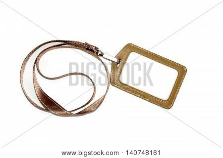 Brown Name Tag and Blank id on white with background.