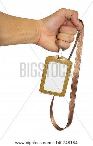 Holding Brown Name Tag and Blank id on white with background.