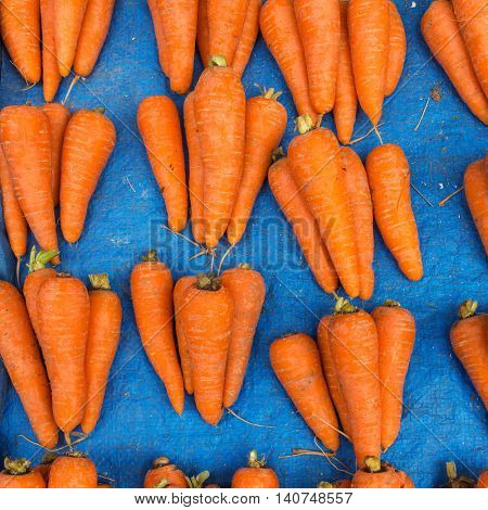 Fresh carrot batches on the market stall
