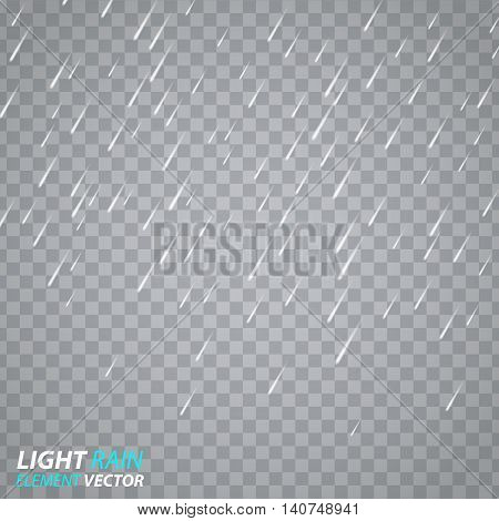 Vector illustration of rain, rain design element, a light rain effect, weather, raindrops illustration for your design. Vector effect of rain on a transparent background.