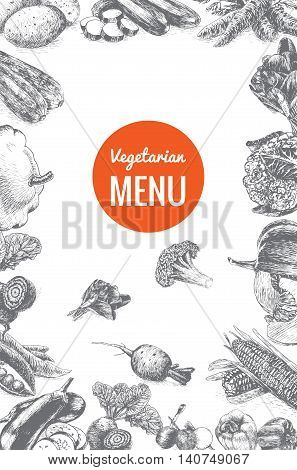Vector illustration black and white frame with vegetables menu. Different vegetables on white background