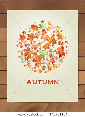 Autumn watercolor round frame. Wreath of autumn leaves. Background with hand drawn autumn leaves. Fall of the leaves. Sketch design elements. Vector illustration.