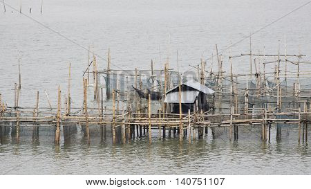 The coop for feeding fish in east of Thailand sea.