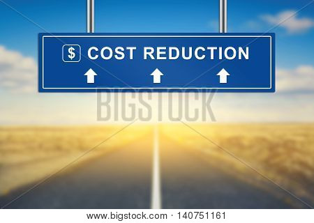 cost reduction words on blue road sign with blurred background