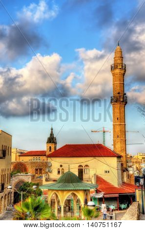 View of the Mahmoudiya Mosque in the old town of Tel Aviv-Jaffa - Israel poster