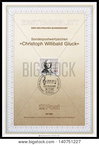 GERMANY - CIRCA 1987 : Cancelled First Day Sheet printed by Germany, that shows Cristoph Willibald Gluck.