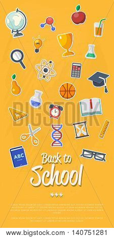 Back to school banner with flat vector icons. Knowledge and science stickers. Education concept. School symbol. Back to school background. School and student sign. Back to school concept. School flyer