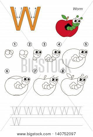 Complete vector illustrated alphabet with kid games. Learn handwriting. Easy educational kid game. Simple level of difficulty. Gaming and education. Drawing tutorial for letter W. Apple Worm.