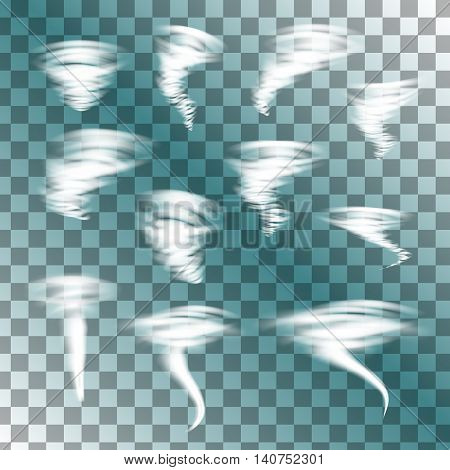 Tornado on transparent background, vector set. Designs with hurricane. Vector illustration.