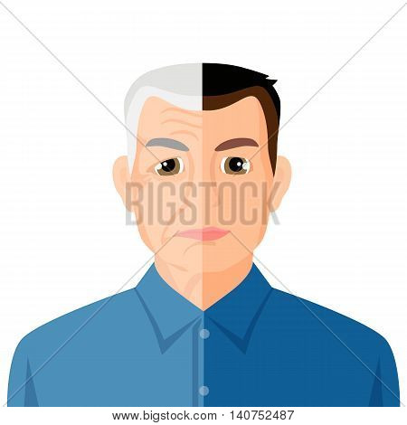 Aging concept portrait showing the process of aging from young to senior, colorful vector flat illustration