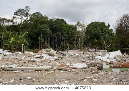 View of House Destruction on outdoor background