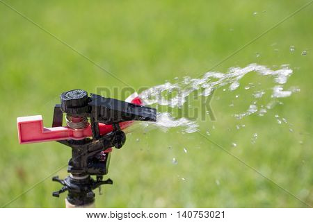 Watering grass sprinkler with sprinkling water fontain