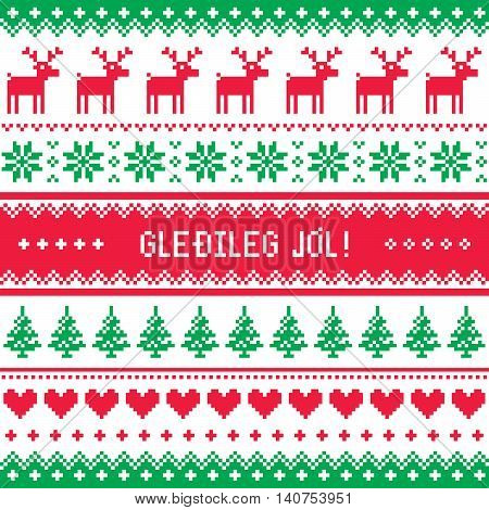 Gledileg Jol - Merry Christmas in Icelandic pattern, greetings card