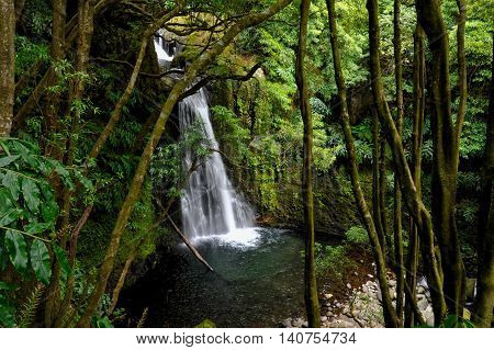 Beautiful view of the Waterfall of Ribeira do Faial da Terra destination of the trekking path Faial da Terra in Sao Miguel Azores