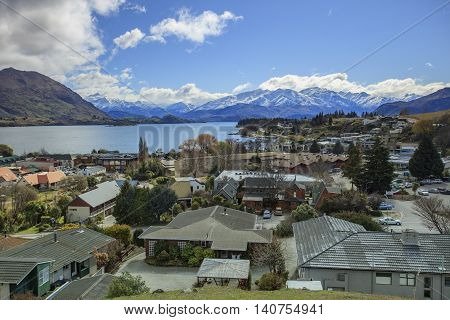 WANAKA TOWN NEW ZEALAND-SEPTEMBER 5:wanaka is a ski and summer resort town traveling destination in the Otago region South Island of New Zealand on september 5 2015 in wanaka town New Zealand