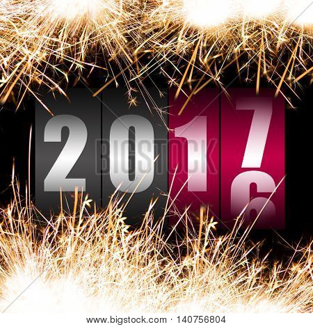 Happy New Year 2017 with sparkles