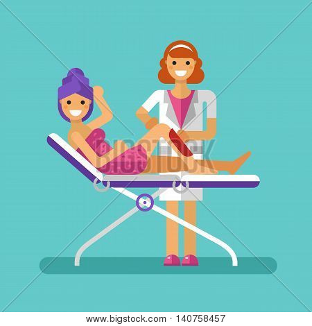 Vector flat design illustration of epilation or depilation procedure. Cosmetologist or beautician depilating legs of beautiful girl in towels. Waxing or sugaring process with strips. Hair removal.