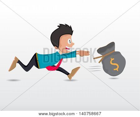 business man running chasing to catch dollar money bag