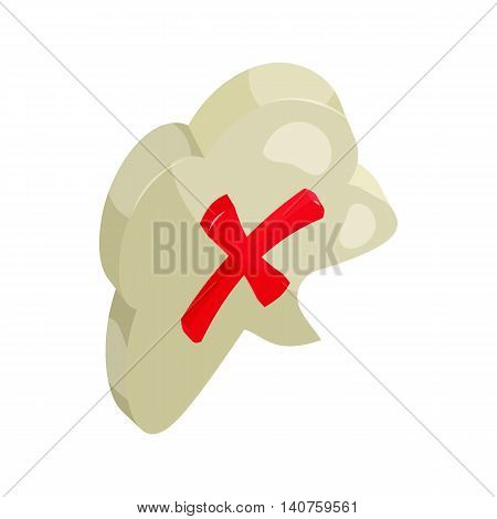 Red cros in a cloud icon in cartoon style on a white background