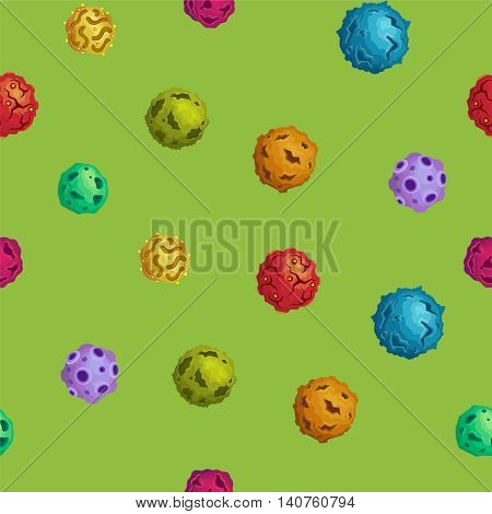 Vector Cartoon Asteroids Seamless Background In Flat Style