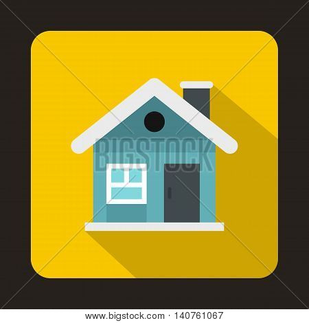 Small blue cottage icon in flat style on a yellow background