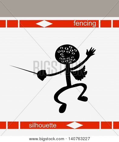 Fencing boy silhouette. Isolated drawing. Vector illustration.