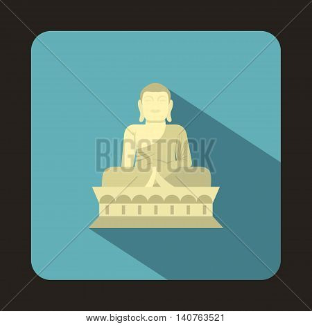 Sitting Buddha, South Korea icon in flat style on a baby blue background